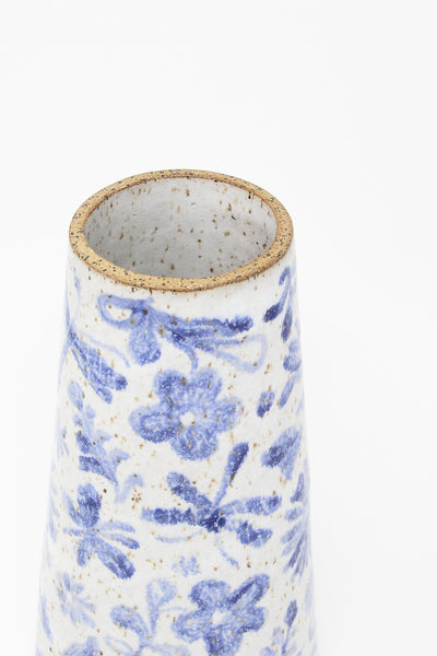 Michelle Blade Large Vase in Speckled White & Blue | Oroboro Store | New York, NY