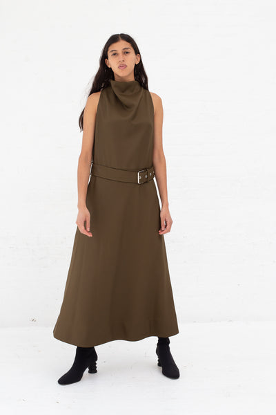 Nomia A-Line Cowl Neck Dress in Moss | Oroboro Store | New York, NY