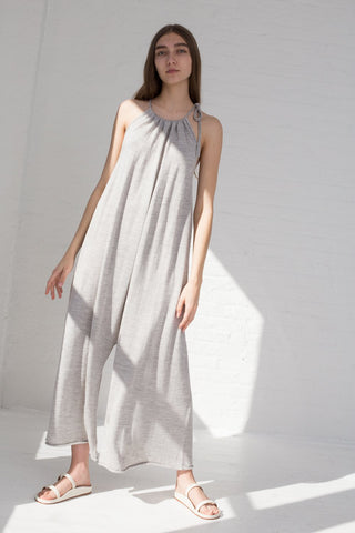 Lauren Manoogian Draw Jumpsuit in Light Grey full front view