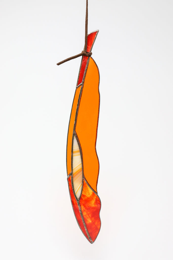 Colin Adrian Diamond Eye Feather in Dark Orange/Red | Oroboro Store | New York, NY
