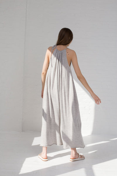 Lauren Manoogian Draw Jumpsuit in Light Grey full back view