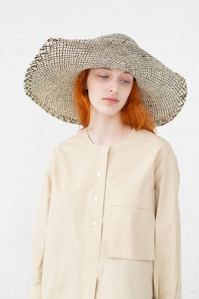 Clyde Wide Brim Flat Top Hat in Grey & Natural Raffia | Oroboro Store | New York, NY