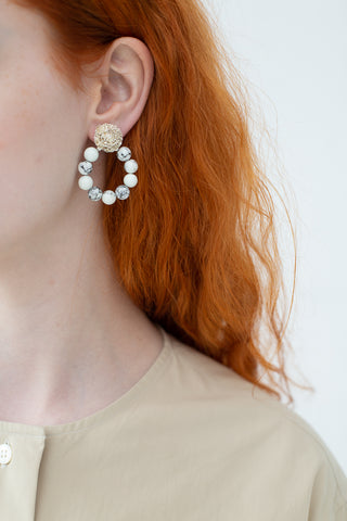 Mirit Weinstock Sparkling Starts Beaded Hoop Earrings in Howlite and Speckled Gold Plated | Oroboro Store | New York, NY