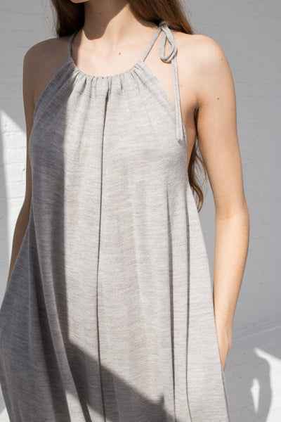 Lauren Manoogian Draw Jumpsuit in Light Grey cropped front view