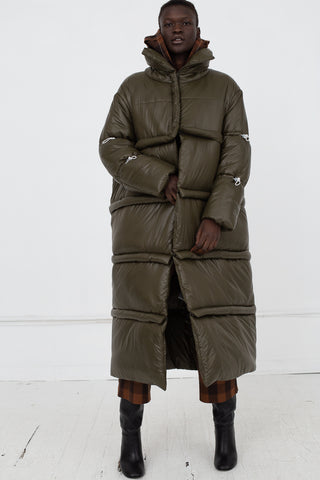AVN Puffer Coat in Military Green Front View Full Body, Oroboro Store, New York, NY