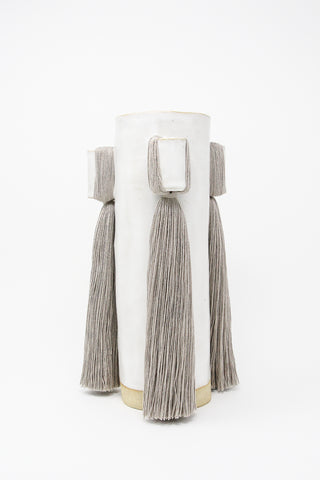 Karen Tinney Vase #607 in White/Pale Gray | Oroboro Store | New York, NY