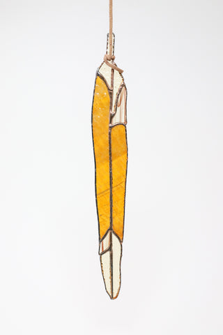 Colin Adrian Long Feather in Orange/Light Yellow | Oroboro Store | New York, NY