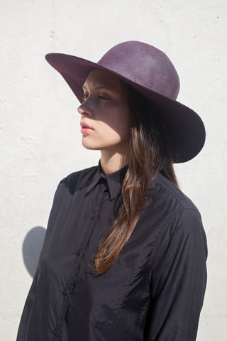 Reinhard Plank Dohan Hat in Prune Waxed Wool | Oroboro Store | Brooklyn, New York