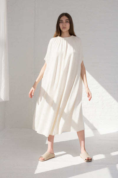 Gather Dress in White