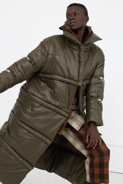 AVN Puffer Coat in Military Green Front View Arm Out