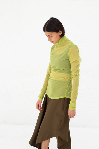 Nomia Long Sleeve Mesh Mockneck in Kiwi Green | Oroboro Store | New York, NY