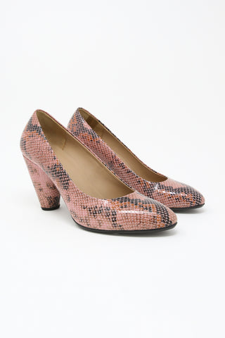 A Detacher Francis Pump in Blush Snake Leather | Oroboro Store | New York, NY