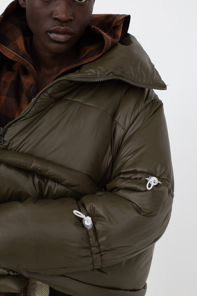 AVN Puffer Coat in Military Green Front View Close Up