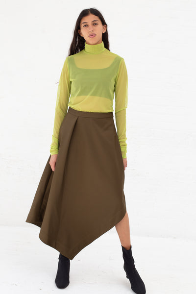 Nomia A-Line Asymmetric Skirt in Moss, Front View Full Body, Oroboro Store, New York, NY