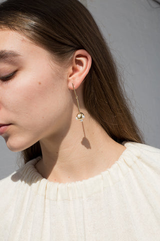 Model view Quarry Ora Earring in Brass w/ White Pearl