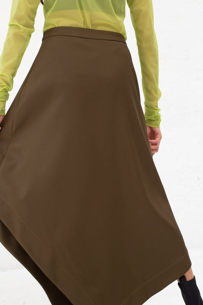 Nomia A-Line Asymmetric Skirt in Moss, Back View Cropped at Waist