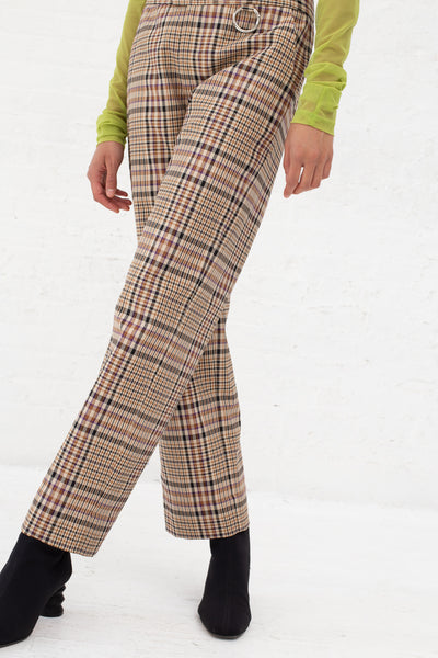Nomia Cropped Slim Trouser in Tan Multi Plaid | Oroboro Store | New York, NY