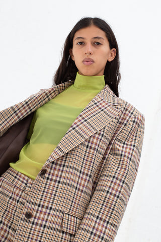 Nomia Oversize Blazer in Tan Multi Plaid | Oroboro Store | New York, NY