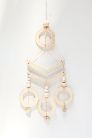 Heather Levine Wall Hanging with Arrow Motif and 3 Circle Drops in White | Oroboro Store | New York, NY