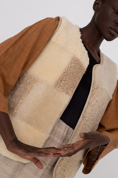 Milena Silvano Vest in Neutral Patchwork | Oroboro Store | New York, NY