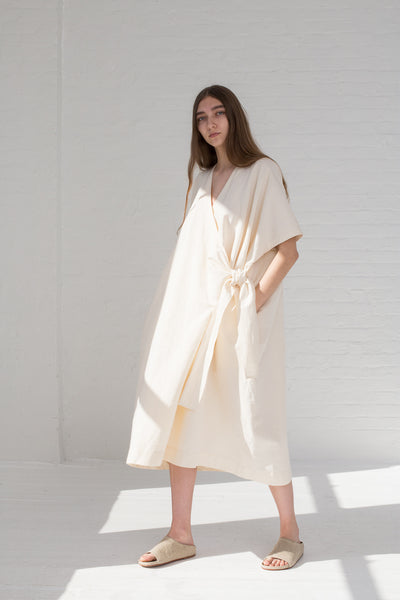 Lauren Manoogian Wrap Caftan in Raw White on model view front