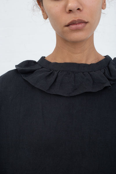 Ichi Antiquites Dress in Charcoal, Front View Close up of Ruffle Neck
