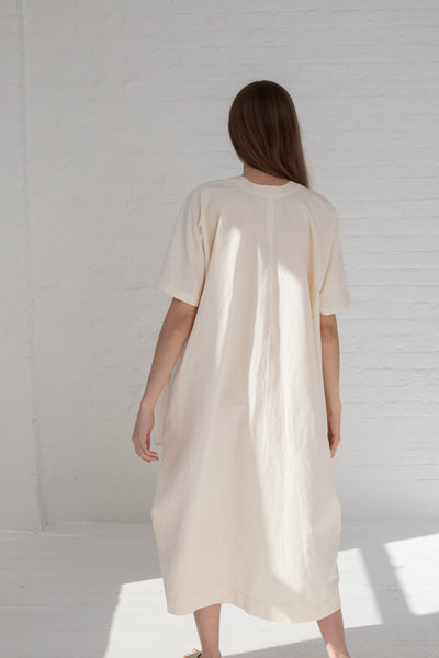 Lauren Manoogian Wrap Caftan in Raw White on model view back
