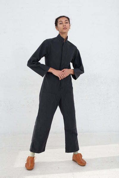 Caron Callahan Fincher Jumpsuit in Twill Charcoal, Front View, Oroboro Store, New York, NY