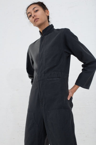 Caron Callahan Fincher Jumpsuit in Twill Charcoal, Front View Hands on Back