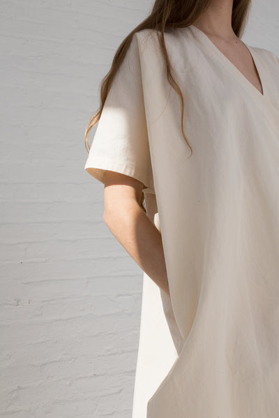 Lauren Manoogian Wrap Caftan in Raw White sleeve detail view