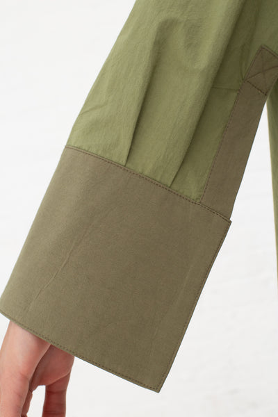 Nomia Oversize Mockneck Shirt in Bottle Green and Khaki | Oroboro Store | New York, NY