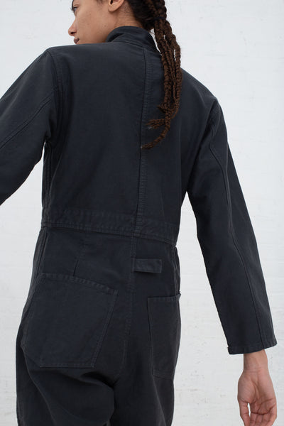 Caron Callahan Fincher Jumpsuit in Twill Charcoal, Back View