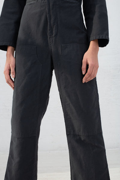 Caron Callahan Fincher Jumpsuit in Twill Charcoal, Front View Cropped at Waist