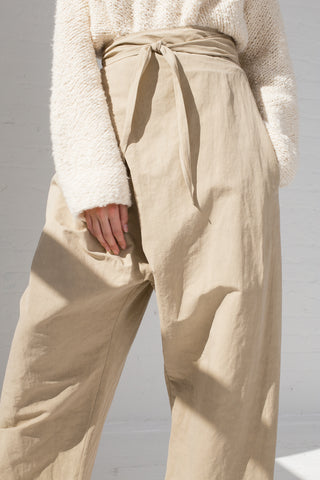 Lauren Manoogian Wrap Pants in Khaki tie detail view