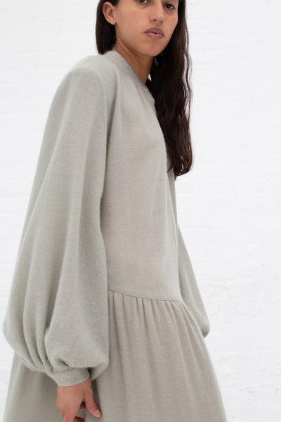 Ryan Roche Cashmere Woven Bottom Ruffle Long Dress in Pale Sage | Oroboro Store | New York, NY
