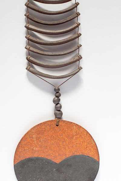 Heather Levine Brown Ceramic Rain Drop with Two Open Circles | Oroboro Store | New York, NY