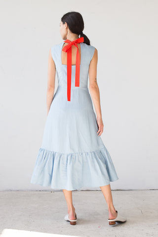 Rejina Pyo Bridgette Dress in Celeste Blue/ Red | Oroboro Store | New York, NY