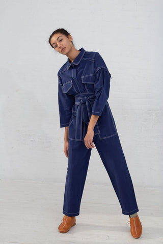 Caron Callahan Farrah Jumpsuit in Indigo Blue, Front View Full Body, Oroboro Store, New York, NY