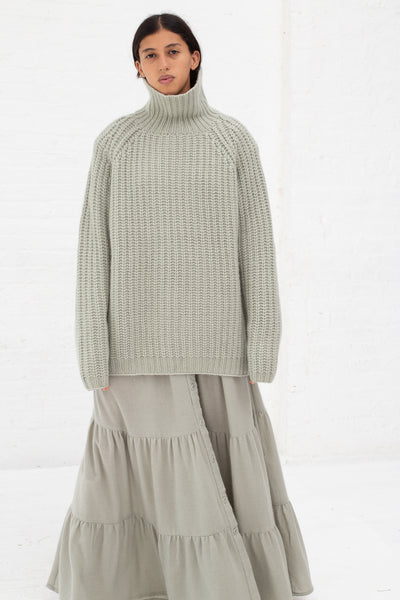 Ryan Roche Cashmere Silk Oversized T-Neck Sweater with Lace Collar in Pale Sage | Oroboro Store | New York, NY