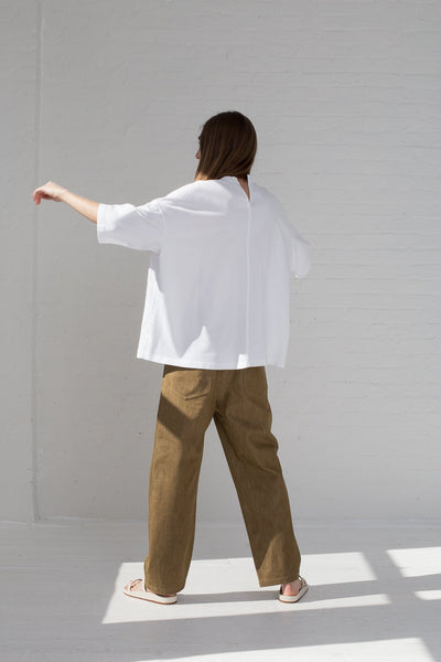 Sofie D'Hoore Temper Tee - Fine Cotton Fleece in Optical White on model back view