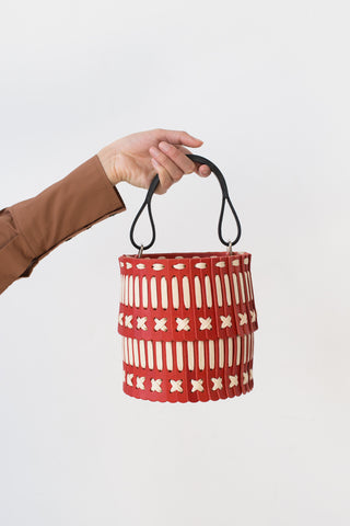 Hatori Basket in Red & Cream | Oroboro Store | New York, NY
