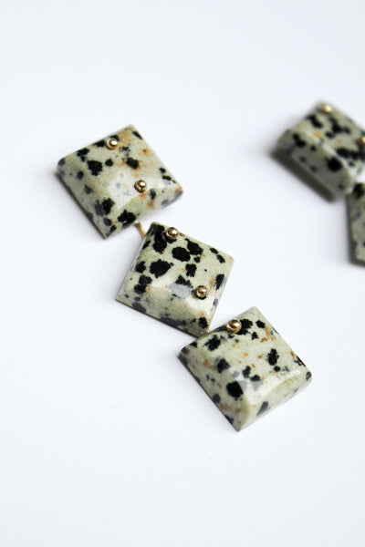 Dalmation Stone Earrings - 3 Stones