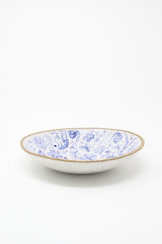 Michelle Blade Large Serving Bowl in Speckled White & Blue | Oroboro Store | New York, NY