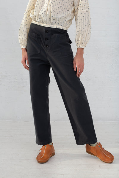 Caron Callahan Emily Pant in Twill Charcoal, Front View Cropped Above Waist, Oroboro Store, New York, NY