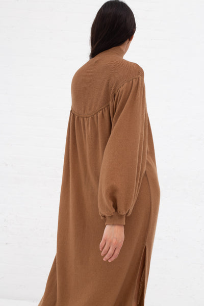 Ryan Roche Cashmere Woven Dress with Fine Rib Knit T-Neck in Brown Rose | Oroboro Store | New York, NY