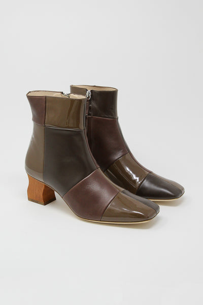 Rejina Pyo Yuki Boot in Leather Brown Tonal Patchwork | Oroboro Store | New York, NY