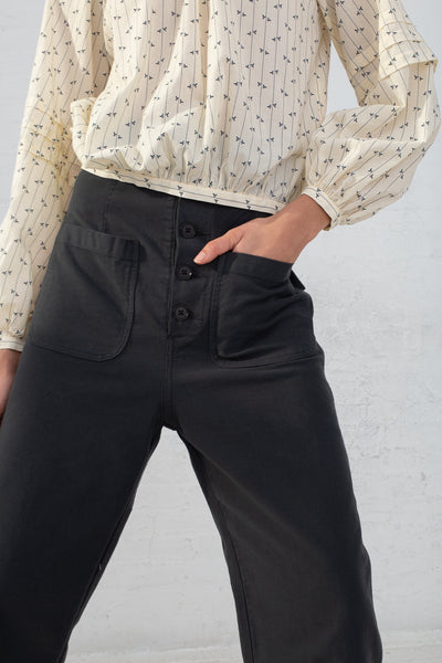 Caron Callahan Emily Pant in Twill Charcoal, Front View Cropped From Shoulder to Knee