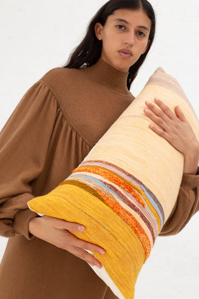 Jess Feury Lumbar Pillow in Beige, Ochre & Rust | Oroboro Store | New York, NY