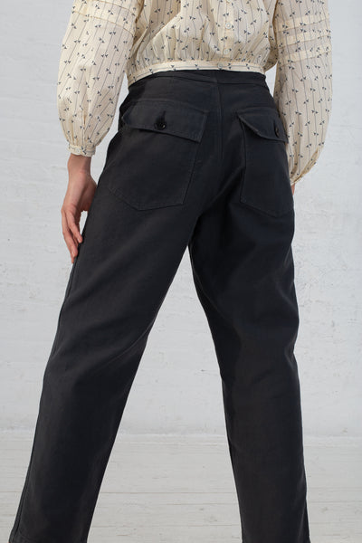 Caron Callahan Emily Pant in Twill Charcoal, Back View