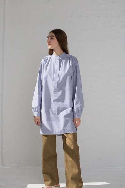 Sofie D'Hoore Badea Top - Double Twisted Cotton in Blue/White on model view front